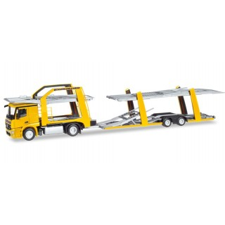 """Mercedes-Benz Actros Eurolohr Car Transporter veicolo """"Qualitrans Cargo"""" (HU) 1:87"""