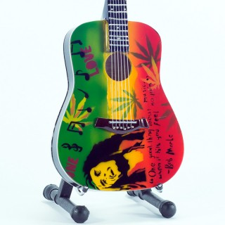 Mini Guitar Replica Bob Marley Tribute One Love