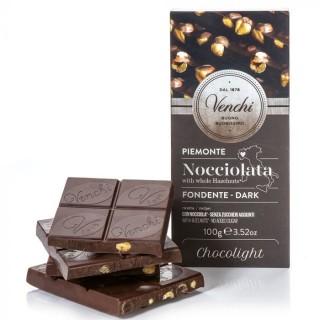 Tavoletta di cioccolato fondente 54% con nocciole senza zuccheri aggiunti 100g Venchi