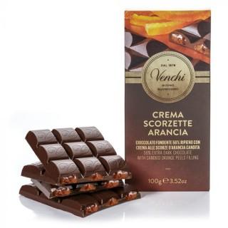 Tavoletta di cioccolato fondente 56% ripiena all'arancia 100g Venchi