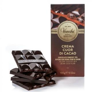 Tavoletta di cioccolato fondente 75% ripiena cuor di cacao 100g Venchi
