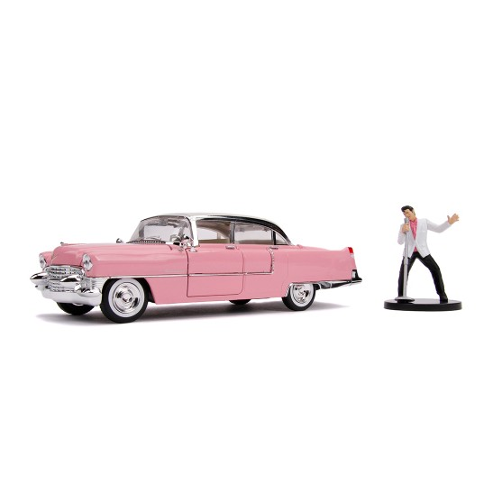 "Cadillac Fleetwood Series 60 1955 ""Pink Cadillac"" with Elvis Presley Figure 1:24"