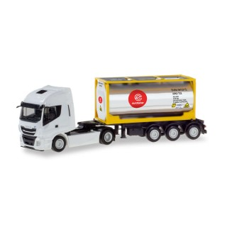 """Iveco Stralis XP chrome tank container semitrailer """"Eurotainer"""" 1:87"""