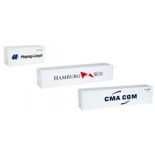 """Set Container contenitori refrigerati tre pezzi """"Hamburg Sud - Hapag Lloyd - CMA CGM"""" 1:87"""