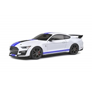 Ford Mustang Shelby GT500 Fast Track 2020 White with blu stripes 1:18