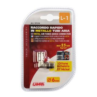 Raccordo Aria in Metallo Lampa L-1 a 90° per tubi aria - Ø 6 mm