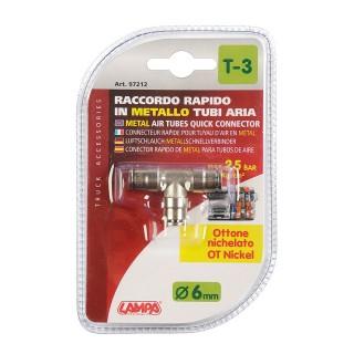 Raccordo Aria in Metallo Lampa T-3 a T per tubi aria - Ø 6 mm